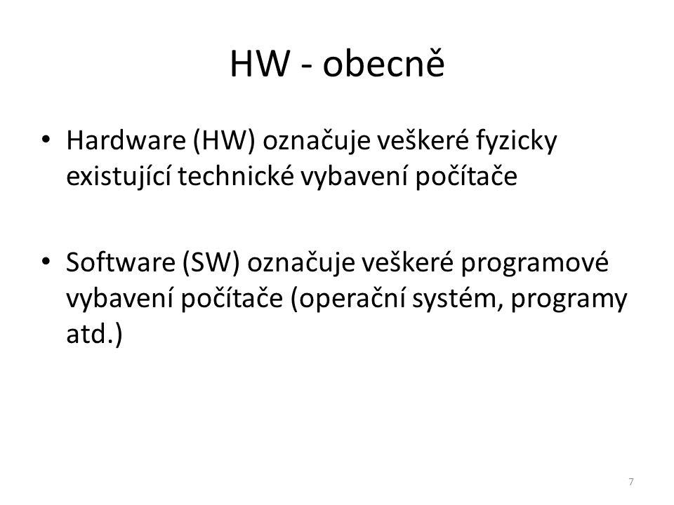 HW - obecně Hardware (HW) označuje veškeré fyzicky existující technické vybavení počítače.