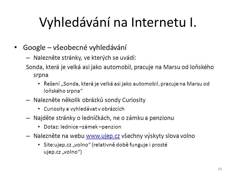 Vyhledávání na Internetu I.