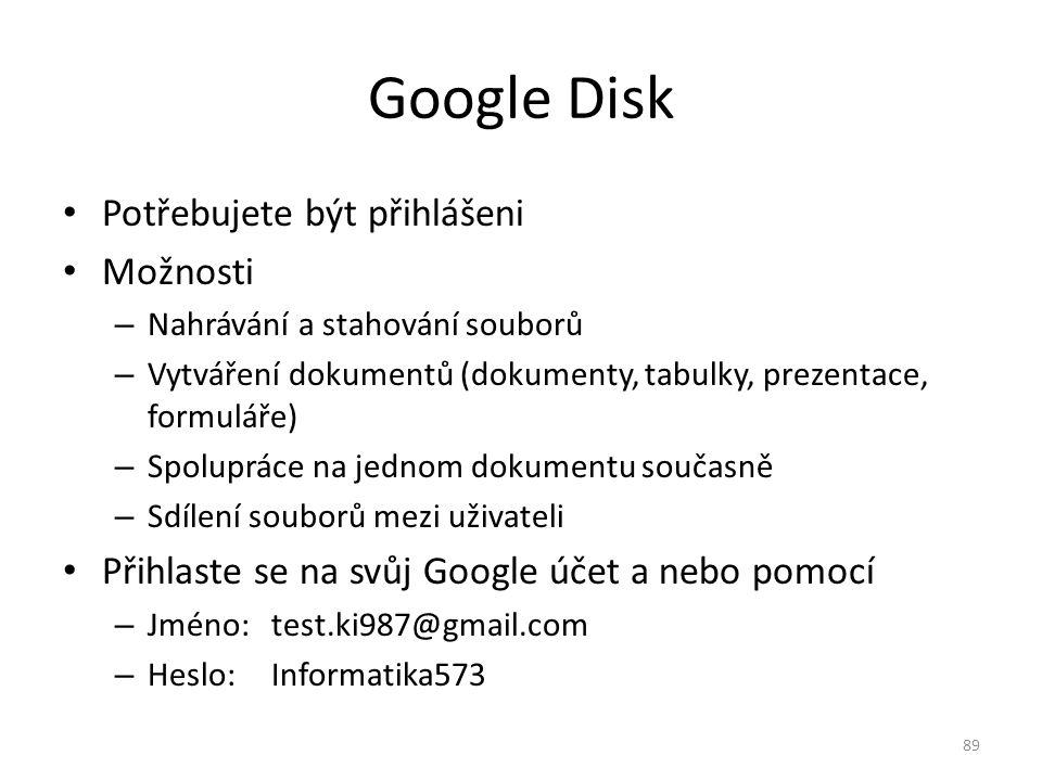 Google Disk Potřebujete být přihlášeni Možnosti