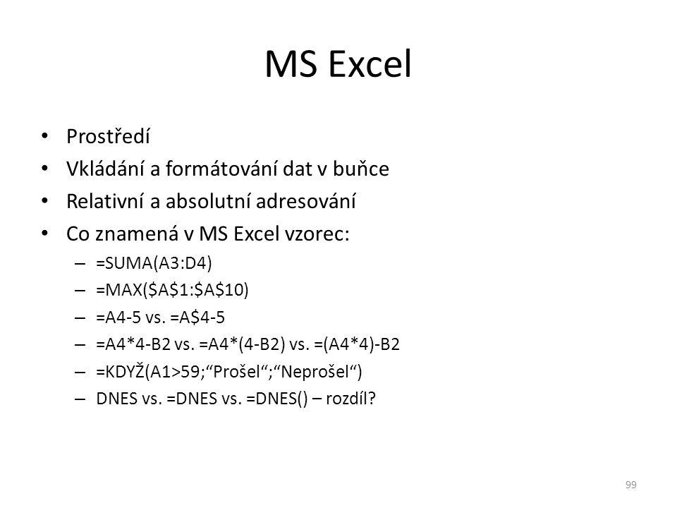 MS Excel Prostředí Vkládání a formátování dat v buňce
