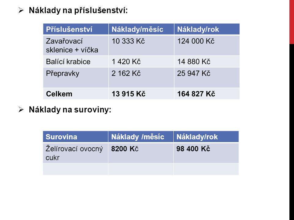 Náklady na příslušenství: