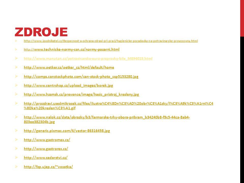 Zdroje http://www.ipodnikatel.cz/Bezpecnost-a-ochrana-zdravi-pri-praci/hygienicke-pozadavky-na-potravinarske-provozovny.html.