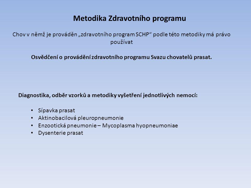 Osvědčení o provádění zdravotního programu Svazu chovatelů prasat.
