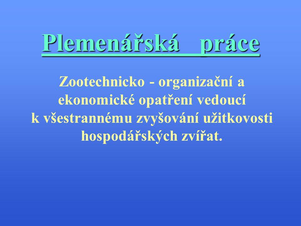 Plemenářská práce Zootechnicko - organizační a ekonomické opatření vedoucí.