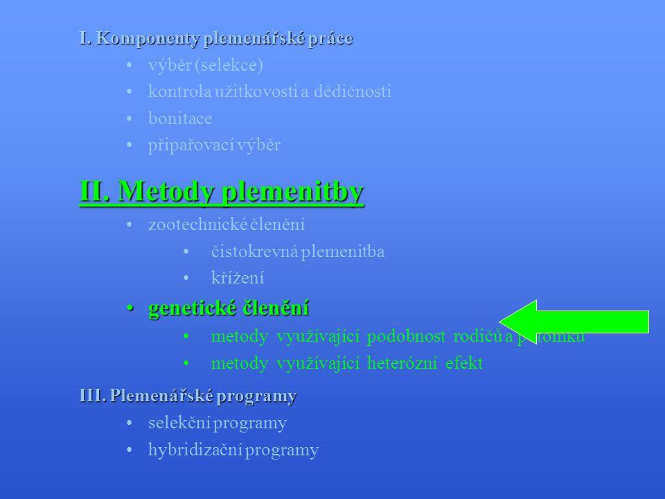 II. Metody plemenitby genetické členění