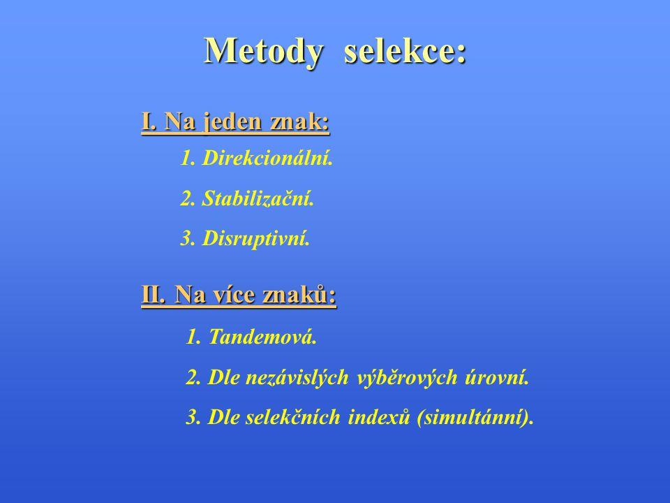 Metody selekce: I. Na jeden znak: II. Na více znaků: 1. Direkcionální.