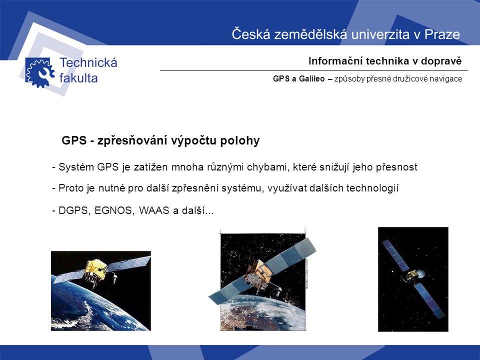 GPS - zpřesňování výpočtu polohy