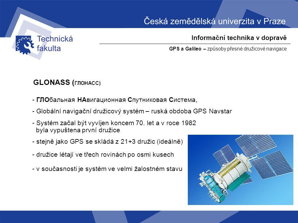 GLONASS (ГЛОНАСС) Informační technika v dopravě