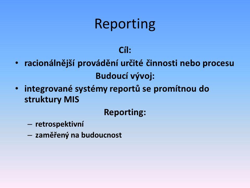Reporting Cíl: racionálnější provádění určité činnosti nebo procesu