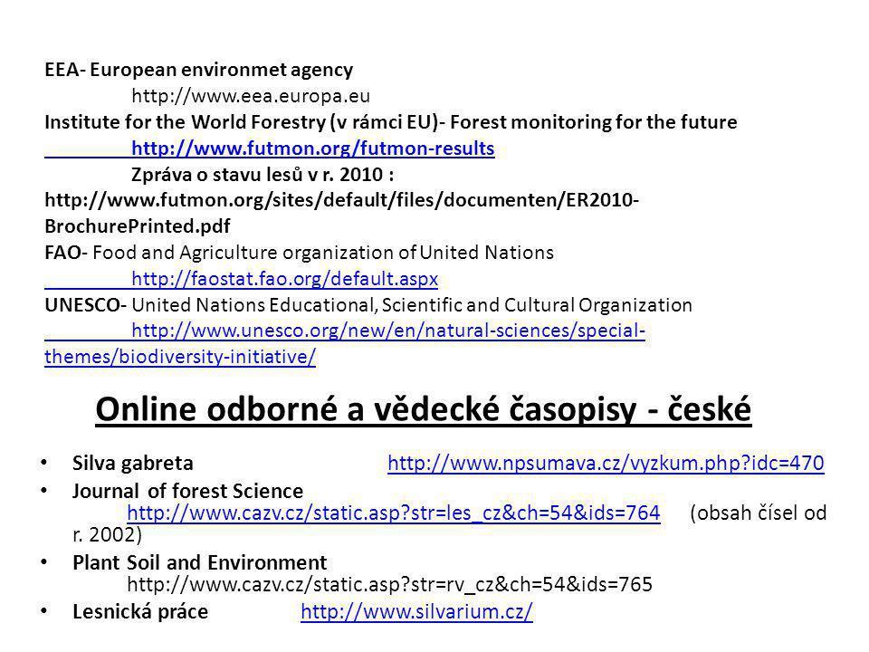 Online odborné a vědecké časopisy - české