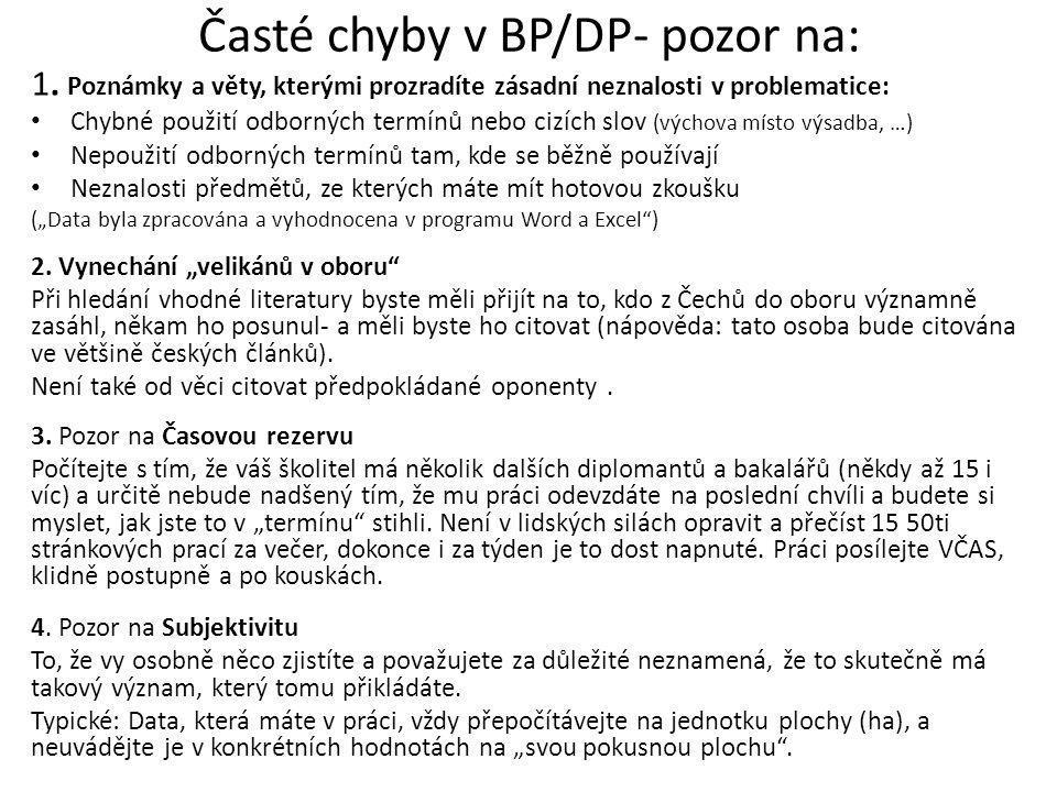 Časté chyby v BP/DP- pozor na: