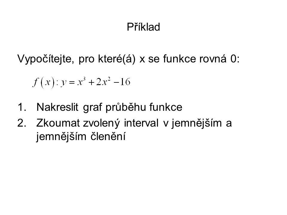 Příklad Vypočítejte, pro které(á) x se funkce rovná 0: Nakreslit graf průběhu funkce.