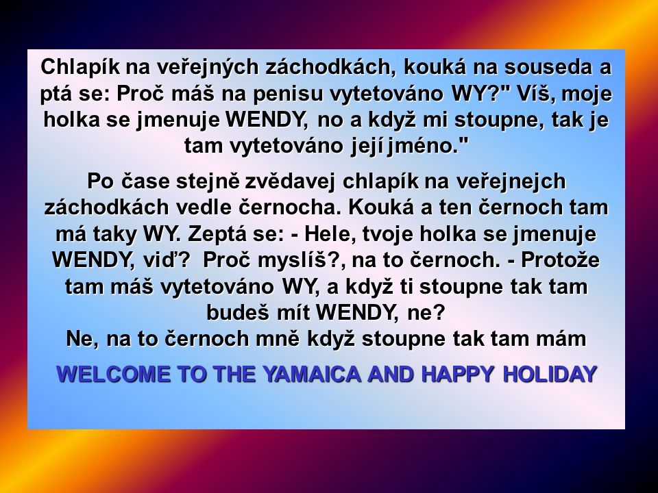 WELCOME TO THE YAMAICA AND HAPPY HOLIDAY