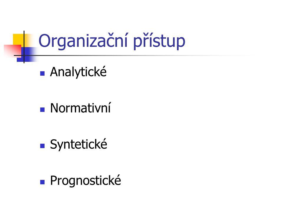 Organizační přístup Analytické Normativní Syntetické Prognostické