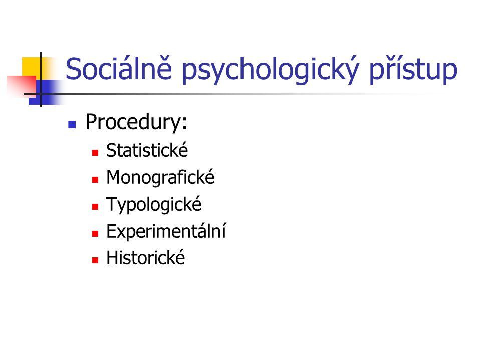 Sociálně psychologický přístup