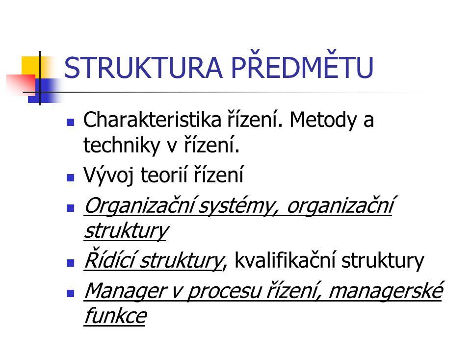 STRUKTURA PŘEDMĚTU Charakteristika řízení. Metody a techniky v řízení.