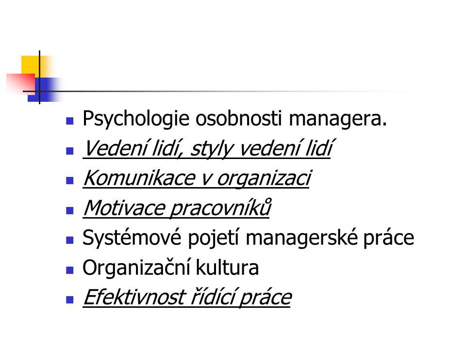 Psychologie osobnosti managera.