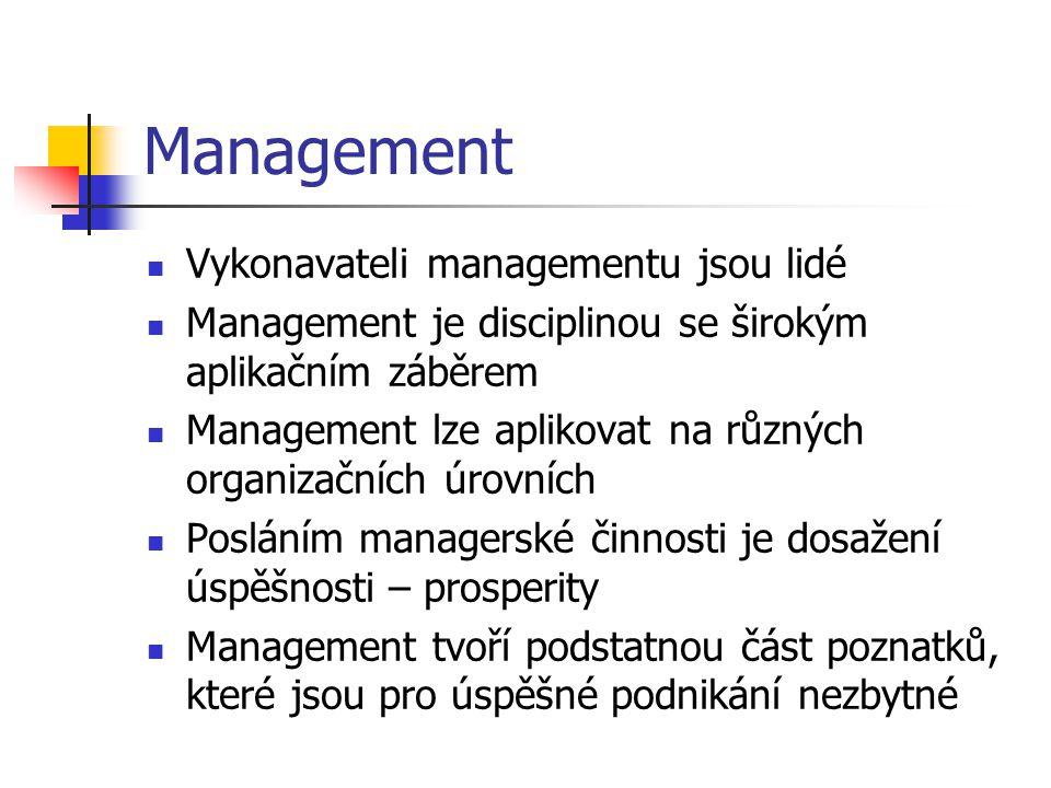 Management Vykonavateli managementu jsou lidé