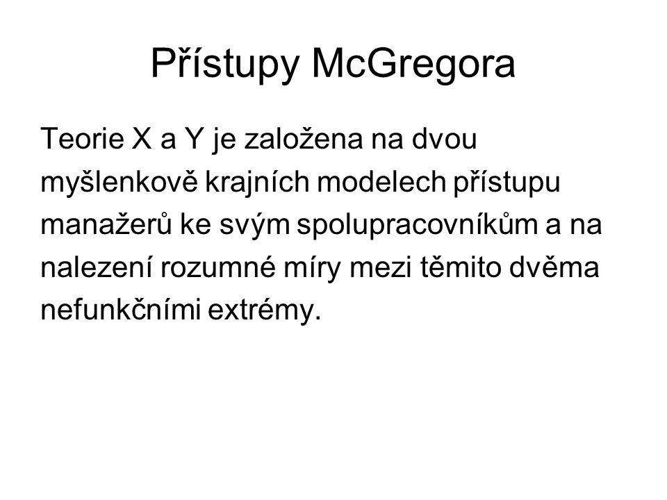 Přístupy McGregora Teorie X a Y je založena na dvou