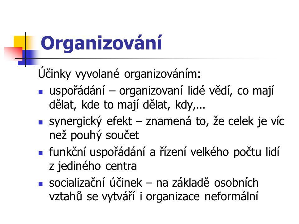 Organizování Účinky vyvolané organizováním: