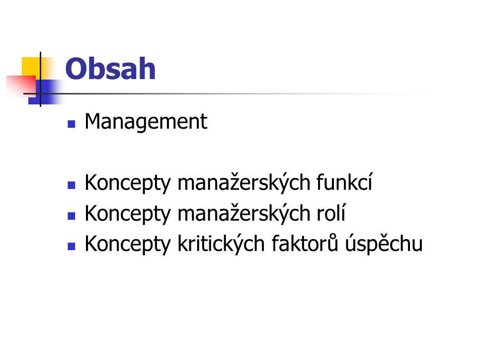 Obsah Management Koncepty manažerských funkcí