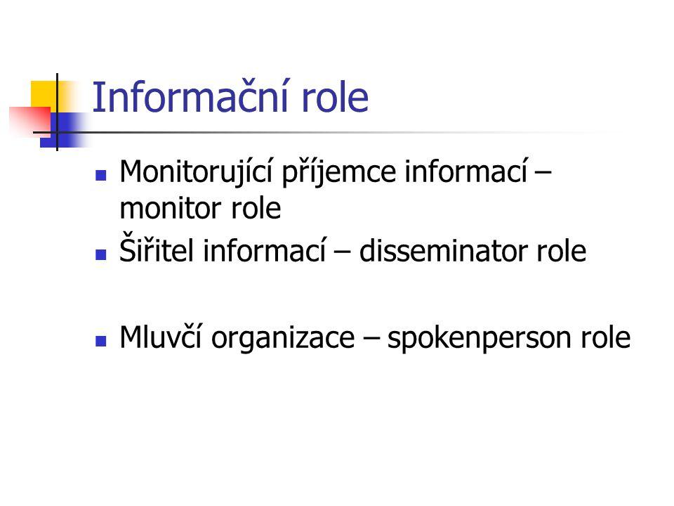 Informační role Monitorující příjemce informací – monitor role