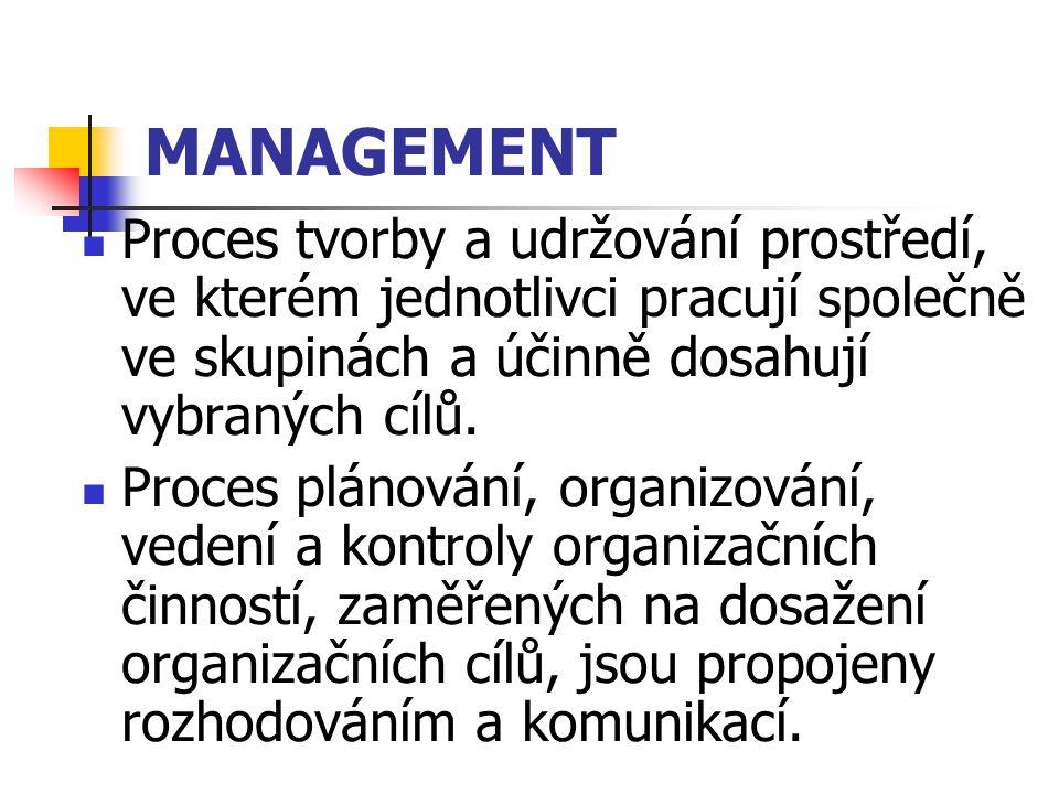 MANAGEMENT Proces tvorby a udržování prostředí, ve kterém jednotlivci pracují společně ve skupinách a účinně dosahují vybraných cílů.