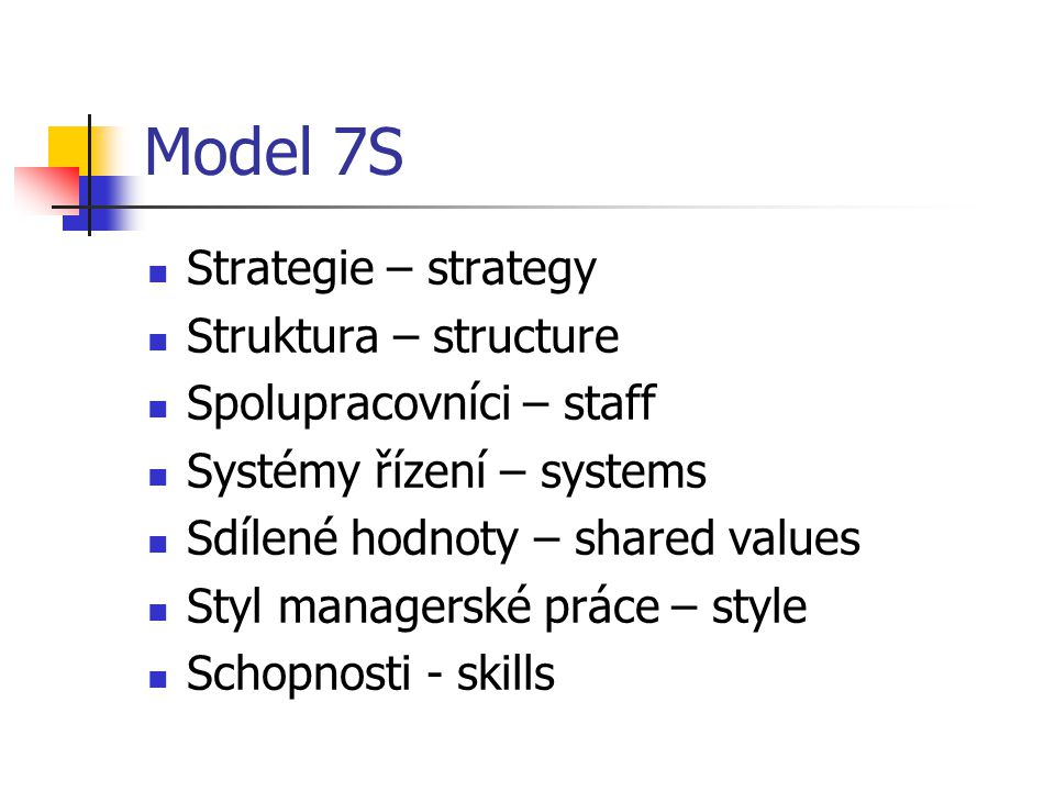 Model 7S Strategie – strategy Struktura – structure