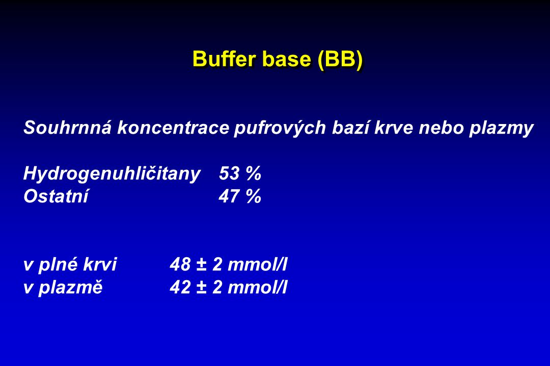Buffer base (BB) Souhrnná koncentrace pufrových bazí krve nebo plazmy