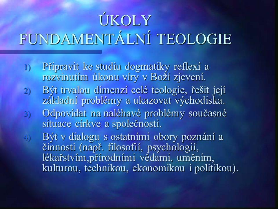 ÚKOLY FUNDAMENTÁLNÍ TEOLOGIE