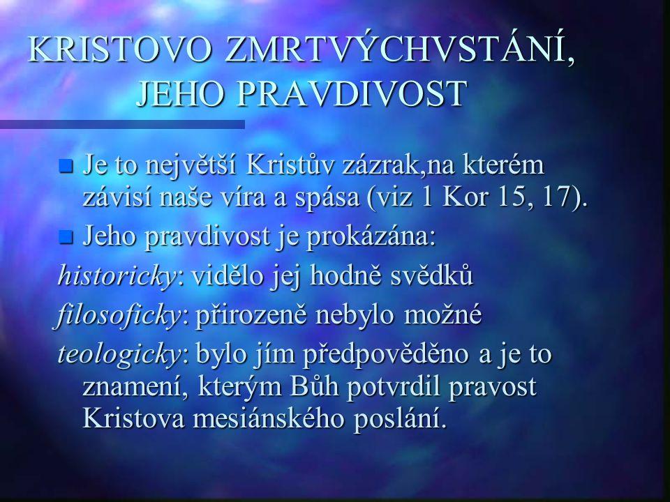 KRISTOVO ZMRTVÝCHVSTÁNÍ, JEHO PRAVDIVOST