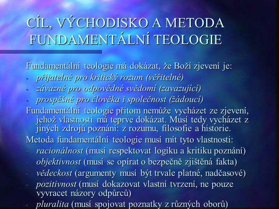 CÍL, VÝCHODISKO A METODA FUNDAMENTÁLNÍ TEOLOGIE
