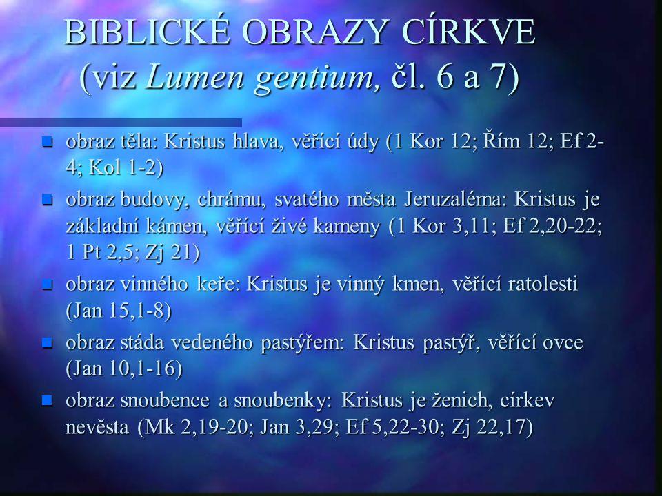 BIBLICKÉ OBRAZY CÍRKVE (viz Lumen gentium, čl. 6 a 7)