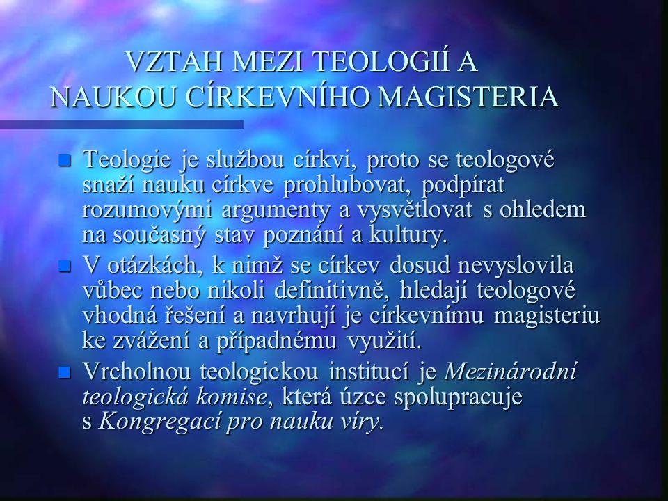 VZTAH MEZI TEOLOGIÍ A NAUKOU CÍRKEVNÍHO MAGISTERIA