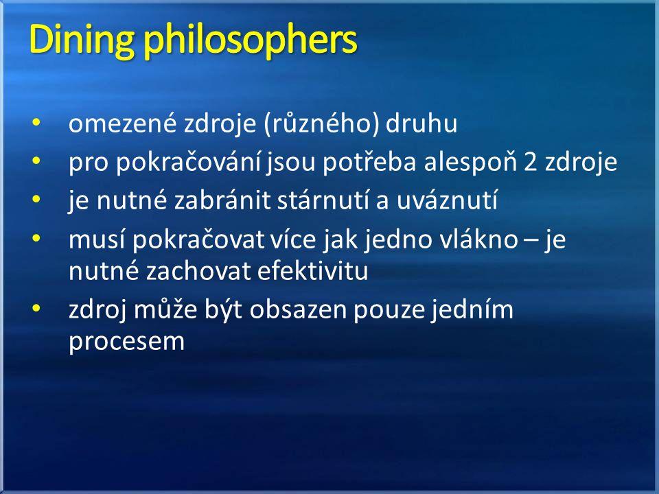 Dining philosophers omezené zdroje (různého) druhu