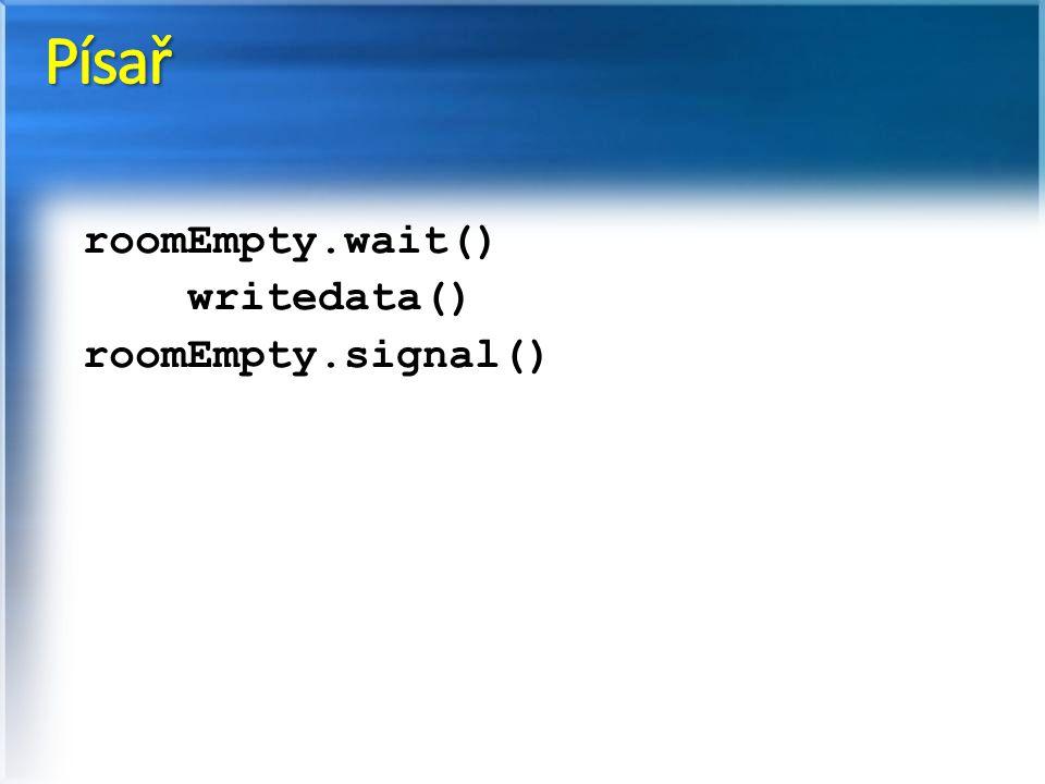 Písař roomEmpty.wait() writedata() roomEmpty.signal()