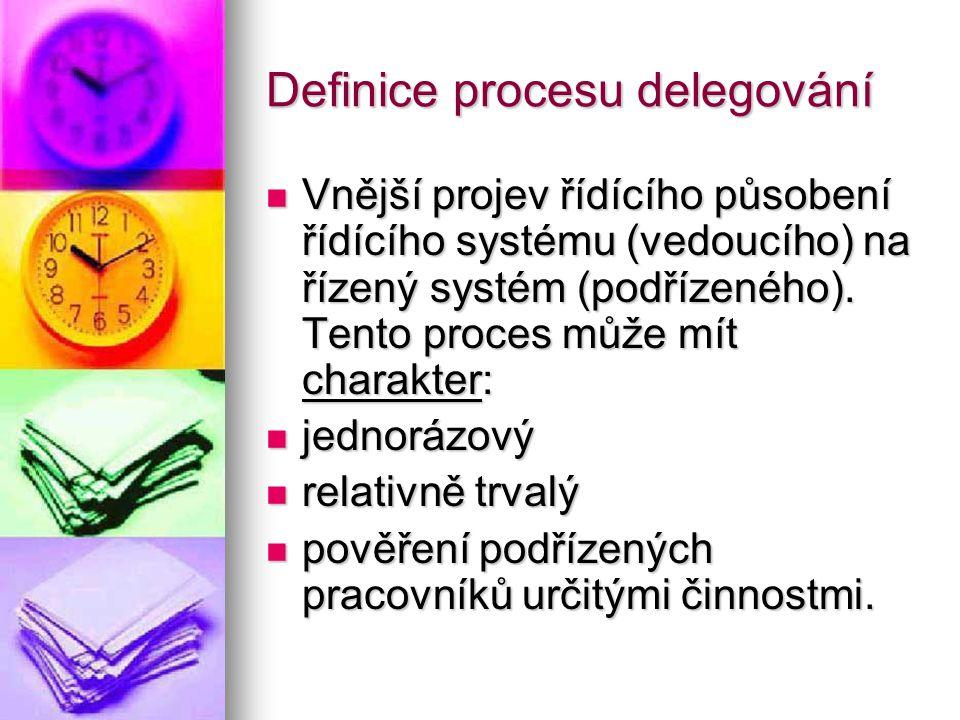 Definice procesu delegování