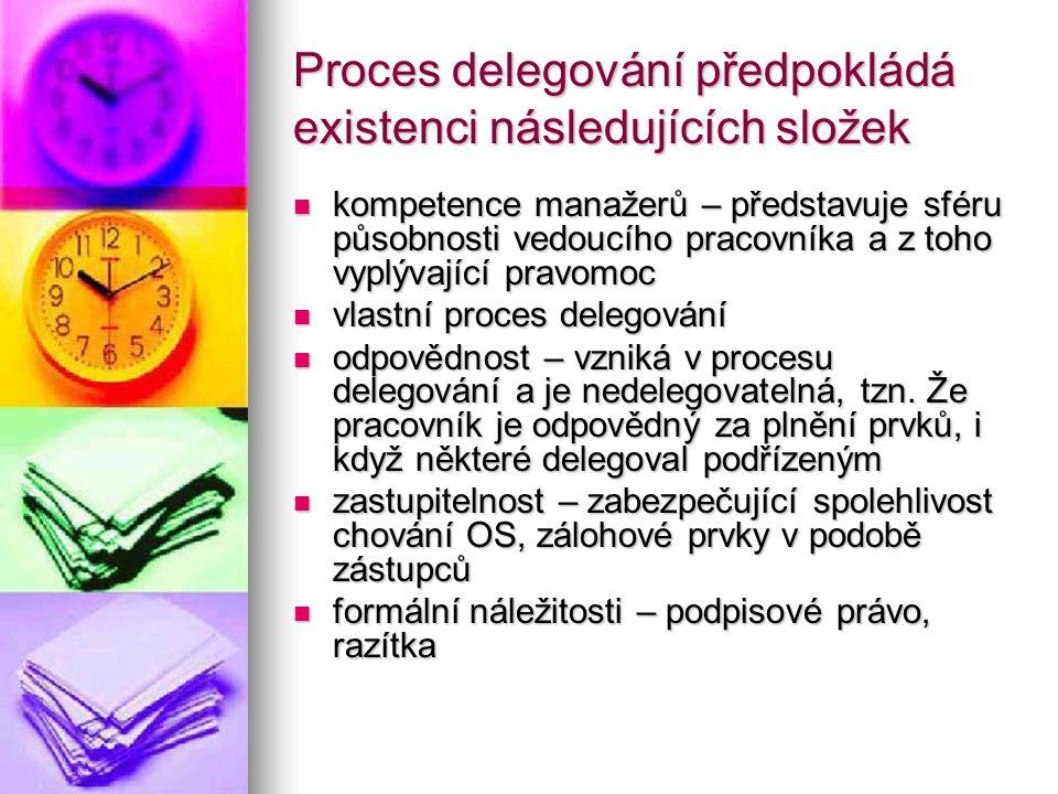 Proces delegování předpokládá existenci následujících složek