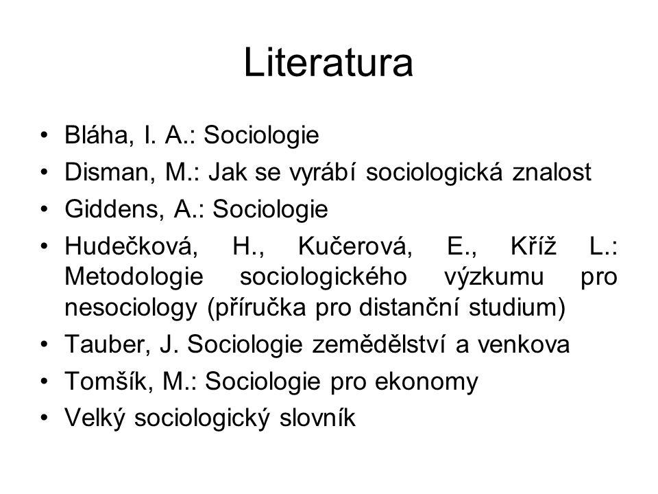 Literatura Bláha, I. A.: Sociologie