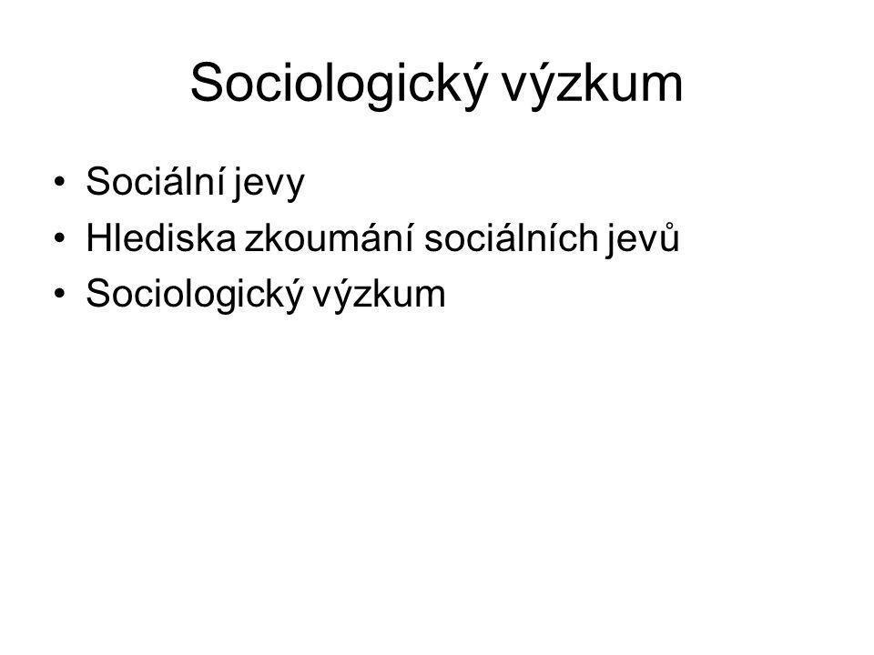 Sociologický výzkum Sociální jevy Hlediska zkoumání sociálních jevů