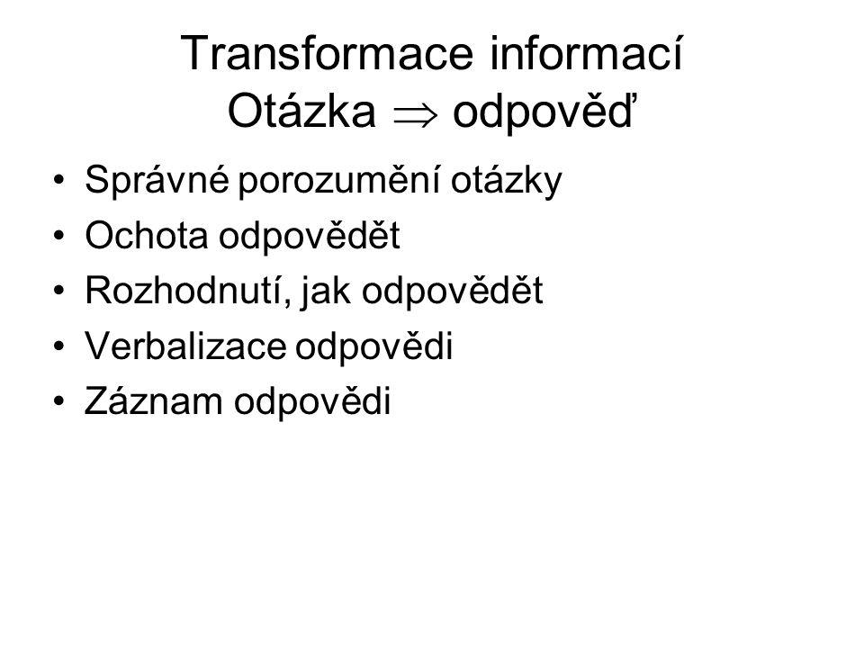 Transformace informací Otázka  odpověď