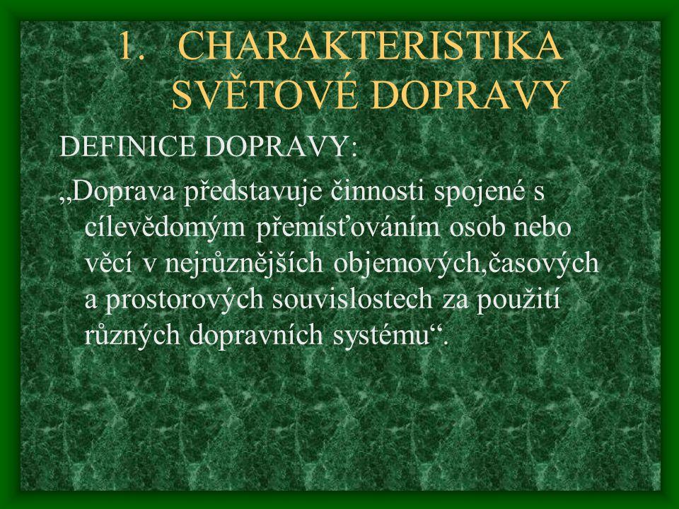 CHARAKTERISTIKA SVĚTOVÉ DOPRAVY