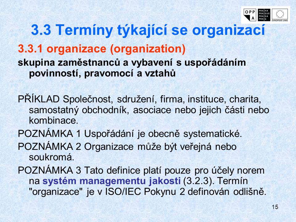 3.3 Termíny týkající se organizací