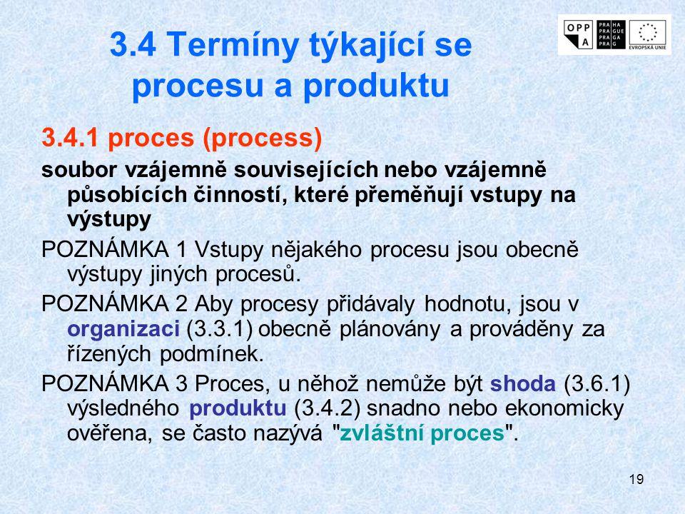 3.4 Termíny týkající se procesu a produktu