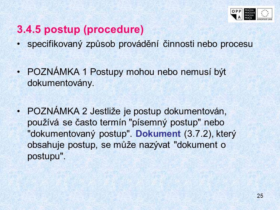 3.4.5 postup (procedure) specifikovaný způsob provádění činnosti nebo procesu. POZNÁMKA 1 Postupy mohou nebo nemusí být dokumentovány.