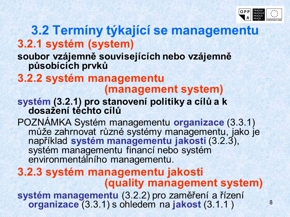 3.2 Termíny týkající se managementu