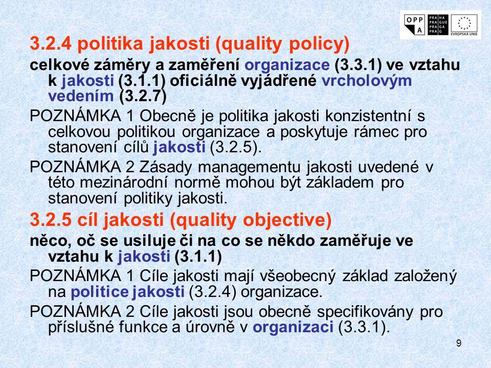 3.2.4 politika jakosti (quality policy)