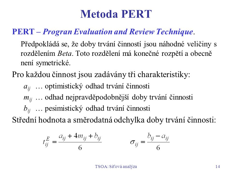 Metoda PERT PERT – Progran Evaluation and Review Technique.