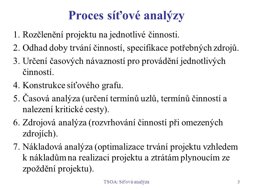 Proces síťové analýzy 1. Rozčlenění projektu na jednotlivé činnosti.
