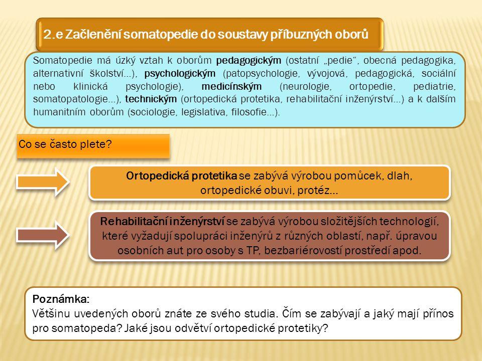 2.e Začlenění somatopedie do soustavy příbuzných oborů